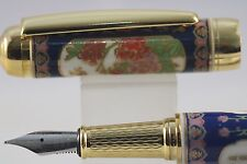 Jinhao Blue & White Porcelain Fine Fountain Pen, Penoy Flower Design