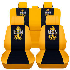 Truck Seat Covers 2018 Ford F150 60-40 Rear Split Yellow Navy Blue USN Covers