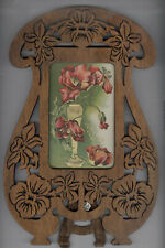 WILD ART NOUVEAU ANTIQUE OAK FRAME, SITS OR HANGS, BEAUTIFUL INTRICATE FLOWERS
