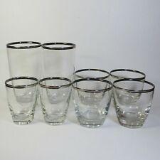 Libbey Platinum Elegance Mid Century Barware Highball Glasses Old Fashioned Trim
