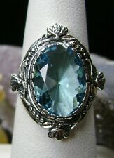 5ct Oval *Blue Aquamarine* Solid Sterling Silver Victorian Filigree Ring Size: 8