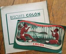 Black/African People - 1930s Biscuit Tin Label - 'Biscuits Colon', Topless Woman
