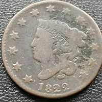 1822 Large Cent Coronet Head One Cent 1c Circulated  #2289