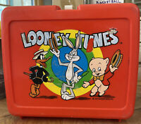 1977 Thermos Red Plastic Looney Tunes Lunch Box Daffy Duck Bugs Bunny Porky Pig