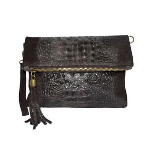 Italian Leather Croc Embossed Suede Brown Tassel Clutch Bag For Ladies