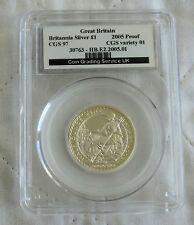 2005 £1 BRITANNIA 1/2oz SILVER PROOF SLABBED CGS 97