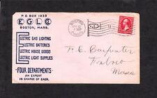 EGL Co Gas Lighting Batteries House Goods 1902 Boston Flag Cancel Ovate #11 z25