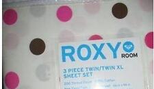 Roxy Rhianna TWIN XL X-LONG dorm Sheet Set 3pcs Pink White Brown Polka Dots new