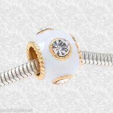 **WHITE ENAMEL BAND w/CRYSTALS** Gold Trim Large Hole European Bead CLEARANCE