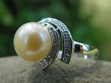 10-11mm Peach Pink Pearl Solitaire (Size 8, O 1/2), CZ's & 925 SOLID Silver