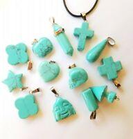 Turquoise Stone Quartz Pendant Necklace Anxiety Healing Birthstone Sagittarius