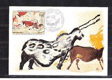 carte   1er jour  tableau  grottes Lascaux  Montignac   1968