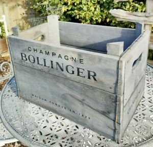 Bollinger Champagne Distressed Wooden Box Crate Vintage Style 34cm