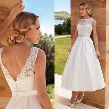 Vintage Tea Length Lace Satin Beach Wedding Dress Bridal Gown with Crystals Sash