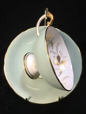 Aynsley Pale Green Footed CUP & SAUCER Set with Gold Thistles C1542