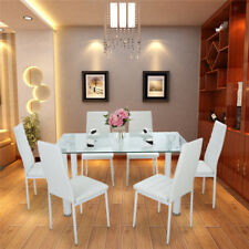 Panana Glass Square Dining Table and Chairs with 4 or 6 Faux Leather Chairs Sets