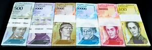 2017 Venezuela $500-$100,000 Bolivares Set NEW UNC 6 Pack 600 Pc Total SKU4182