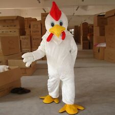 New White Chicken Mascot Costume Cock Clothing Party Suit Adult Size