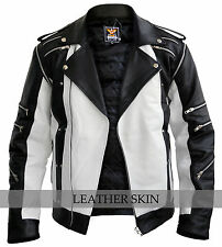 Michael Jackson White & Black Pepsi Genuine Leather Jacket w/ Detachable Sleeves