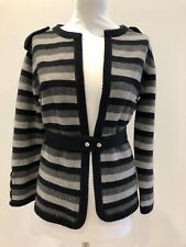 CHANEL CASHMERE CARDIGAN KNIT STYLE JACKET WITH SILVER TONE BUTTONS, LIGHTLY WOR