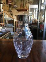 Glas Vase mit Silberfassung Sterling 925er 1963 mit Grafur 22,5 cm hoch