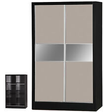 Luxe Grey Gloss & Black | 2 Door Sliding Wardrobe Mirrored | Bedroom Unit