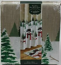 Christmas St Nicholas Square Snowman Frosty Pines Fabric Shower Curtain 70x70
