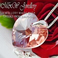 925 Silver Necklace Pendant Crystals from Swarovski® HEART - Rose Peach Shimmer