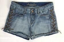 American Rag Cie Women's Juniors Jean Shorts Size 13 Lace Up Sides EUC