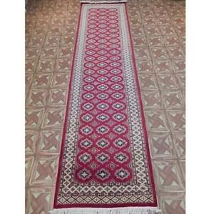 3x10 Soft Looking Hand Knotted Jaldar Bukhara Red Rug B-78194
