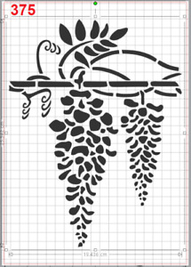 Wisteria Flowers Branch Stencil MYLAR A4 sheet strong reusable wall craft deco