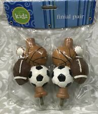 "New 2 Sports Ball 5/8"" drapery rod Finial Baseball Soccer end caps Football"