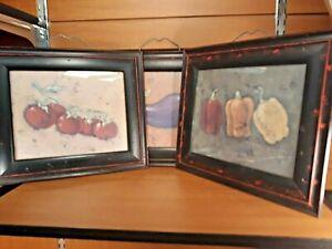 3x 8x10 Rebecca Carter Tomato, Eggplant, Pepper, Black & Red Framed Kitchen Art