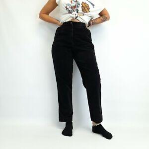 Vintage L.L. Bean High Waisted Corduroy Trousers Black 28W 29L