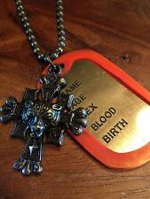 Army Military gold Tone Celtic tiger cross  Alloy Dog Tag Pendant Necklace