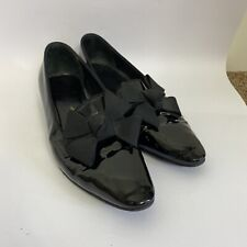 Russell & Bromley Black Patent Leather Bow Front Flat Smart Loafer Shoes Size 6