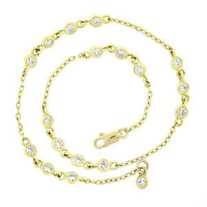 "18K Gold 1ctw Clustered Bezel Diamond by the Yard 8.5"" Anklet Ankle Bracelet"