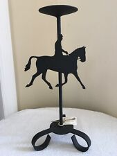Black Iron Candle Holder With A Dressage Horse And Rider New