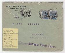 STORIA POSTALE 1915 REGNO COPPIA C.25 U BUSTA PER L'ESTERO FIRENZE 9/6 Z/6905