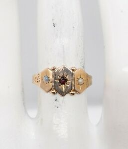 Antique Victorian 1870s Natural Garnet Pearl Opal 14k Yellow Gold Band Ring