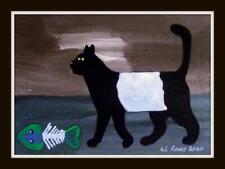 GALLOWAY CAT FISH TEA Original Scottish Impressionist Oil Painting LS ROWLY