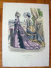 ANTICA STAMPA FIGURINO MODA 1875 - old print dress 1875
