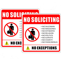 """(2 Pack) 6"""" X 6"""" NO SOLICITING Sign Back Self Adhesive Vinyl Decal Sticker"""
