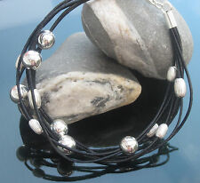 Bracelet Black Genuine Leather with Round and Oval beads 925 Silver