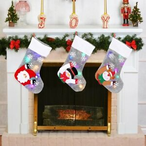 2022 Christmas Stocking Gift Bag with LED Light Home Shops Party New Year Decor