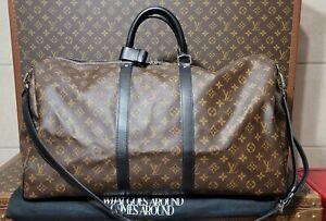 Louis VUITTON AUTHENTIC Macassar Keepall 55 Bandouliere Strap Receipt Duffle Bag