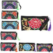 Women Handmade Purse Ethnic Embroidery Flowers Long Wallet Handbag Phone Case