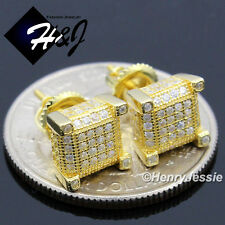 925 STERLING SILVER 7X7MM LAB DIAMOND ICED 3D SCREW BACK GOLD STUD EARRING*GE128