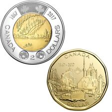 CANADA 2017 New Loonie/Toonies Kit 150th Anniversary of CANADA  (BU from roll)