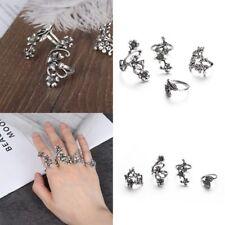 4pcs Bague Femme Vintage Midi Finger Knuckle Rings Set  Jewelry Big Flower Leaf~